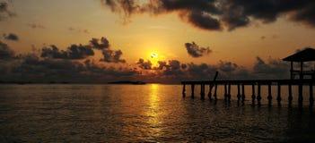 Sonnenuntergang und Brücke Stockfoto