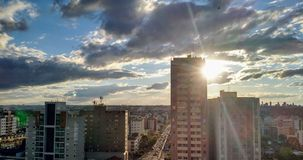 Sonnenuntergang und buidings Lizenzfreies Stockfoto