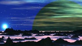 Sonnenuntergang und enormer ausländischer Mond vektor abbildung