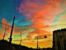 Sonnenuntergang und Farben in Turin Stockfotos