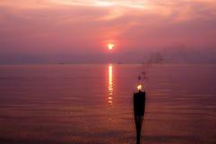 Sonnenuntergang und Feuer Lizenzfreies Stockbild
