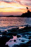 Sonnenuntergang- und Gezeitenpools lizenzfreies stockbild