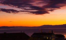 Sonnenuntergang und große Wolke Lausanne-Stadt Lizenzfreie Stockfotografie