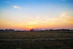 Sonnenuntergang und ländliche Wiese Stockbild