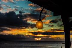 Sonnenuntergang und Licht in Tahiti stockbilder