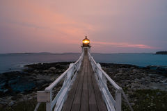 Sonnenuntergang und Marshall Point Lighthouse Lizenzfreies Stockbild