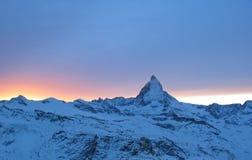 Sonnenuntergang und Matterhorn Stockbild