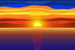 Sonnenuntergang und Meer lizenzfreie abbildung
