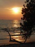 Sonnenuntergang und Meerblick mit Strand Stockbild