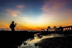 Sonnenuntergang- und Sonnenaufgangansicht Stockfotografie