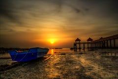 Sonnenuntergang- und Sonnenaufgangansicht Stockfotos