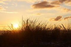 Sonnenuntergang an Vadum-Strand in Salling, Dänemark - Reihe lizenzfreies stockfoto
