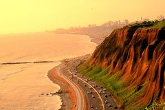 Sonnenuntergang in verda Lima Costa Küste des Pazifischen Ozeans lizenzfreies stockbild
