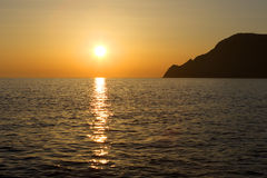 Sonnenuntergang in Vernazza, Cinque Terre Stockbild