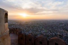 Sonnenuntergang vom Nargarh-Fort Stockfotografie