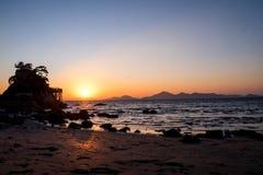 Sonnenuntergang von Dadaepo-Strand Lizenzfreie Stockfotos