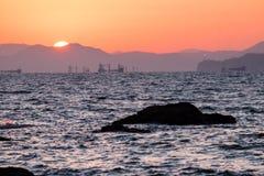 Sonnenuntergang von Dadaepo-Strand Stockfotografie