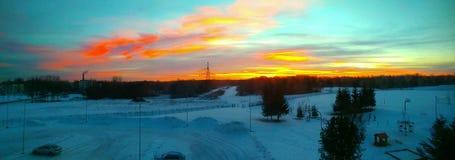 Sonnenuntergang von der Schule Stockbilder