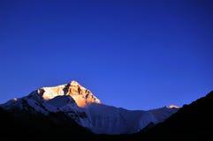 Sonnenuntergang von Everest Stockbild