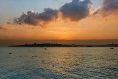 Sonnenuntergang von Istanbul stockfoto