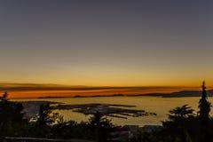 Sonnenuntergang von O Castro - Vigo stockbild