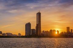 Sonnenuntergang von Seoul-Stadt, Südkorea Lizenzfreies Stockfoto