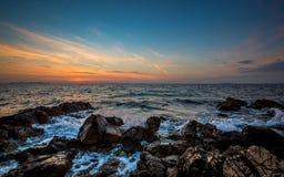 Sonnenuntergang von Vir-Insel, Kroatien Lizenzfreies Stockfoto