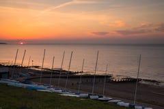 Sonnenuntergang in Whitstable, Kent, Großbritannien Stockbilder