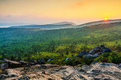 Sonnenuntergang Wilburn Ridge, Grayson Highlands, Virginia Stockbilder