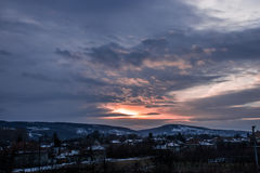 Sonnenuntergang am Winter Lizenzfreie Stockfotografie