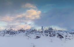Sonnenuntergang-Wolken über Weide fängt Zaun Covered im Schnee auf Lizenzfreies Stockbild