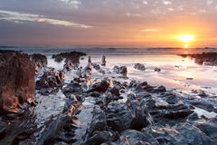 Sonnenuntergang Woolacombe   Nord-Devon-Küste stockfotografie