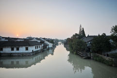Sonnenuntergang wuzhen Lizenzfreie Stockfotografie