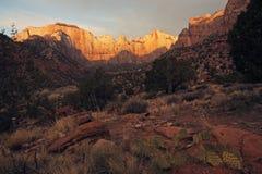 Sonnenuntergang Zion im Nationalpark Lizenzfreie Stockfotos