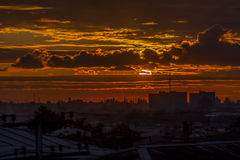 Sonnenuntergang in Zugdidi, Georgia Stockfoto
