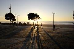 Sonnenuntergang zum espinho in Portugal Lizenzfreie Stockfotos