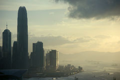 Sonnenuntergangansicht über Hong Kong Stockbild
