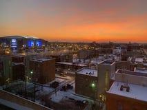 Sonnenuntergangansicht außerhalb der Chicago-Verbands-Mitte lizenzfreies stockfoto