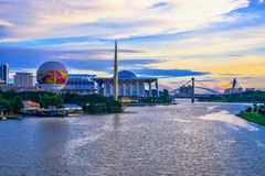 Sonnenuntergangansicht bei Tuanku Mizan Zainal Abidin Mosque Putra Jaya Malaysia Lizenzfreie Stockfotos