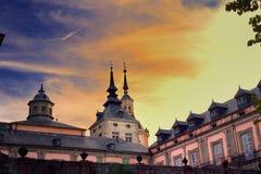 Sonnenuntergangansicht des alten königlichen Standorts von La Granja Stockfotografie