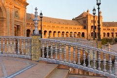Sonnenuntergangansicht des Sevillas, Spanien Spanisch Square Plaza de Espana stockbilder