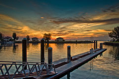 Sonnenuntergangansicht am Hafen Dickson Lizenzfreies Stockbild