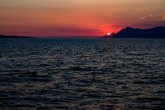 Sonnenuntergangansicht in Makarska, Kroatien Lizenzfreies Stockbild