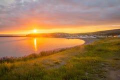 Sonnenuntergangansicht von Husavik Lizenzfreie Stockfotos