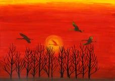 Sonnenuntergangaquarellmalerei Stockfoto