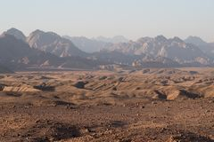 Sonnenuntergangberglandschaft, Ägypten, Süd-Sinai Stockfoto
