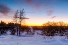 Sonnenuntergangbild im hohen Vens, Belgien Stockfotos
