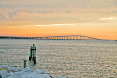 Sonnenuntergangbrücke Lizenzfreies Stockbild