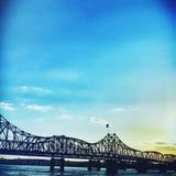 Sonnenuntergangbrücke stockbild