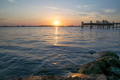 Sonnenuntergangdock Lizenzfreie Stockfotos